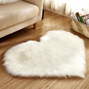 Image 2 - Lovely Sweet Love Heart Shape Carpet Faux Fur Antiskid Doormats Floor Rugs Decor for Bedroom Kitchen Living Room #125