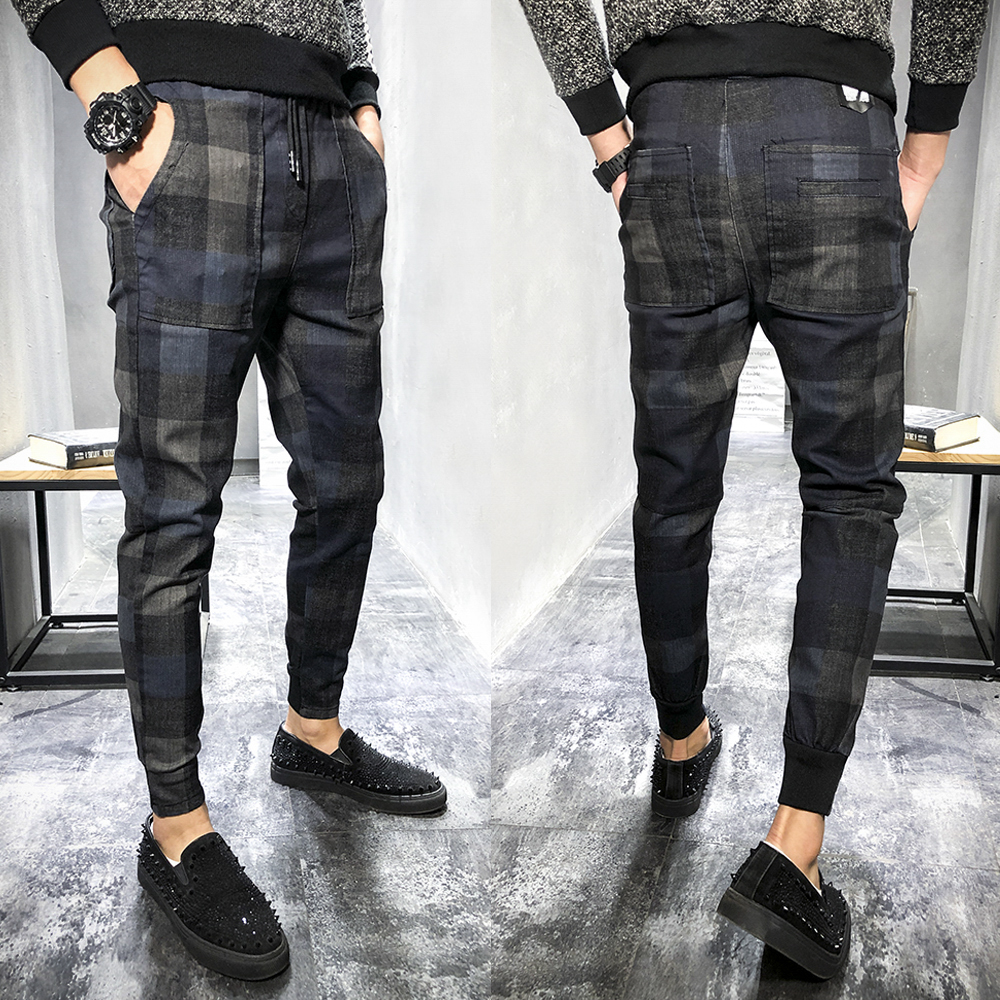 2018 Autumn New Plaid Printed Jeans Men's Slim Feet Youth Casual Social Spirit Guys Beam Foot Harem Pants Tide