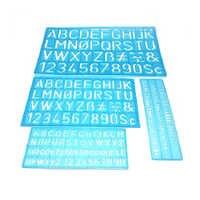 4 pz/set Multifunzionale Numeri Lettere di Alfabeto Stencil Decorativo Pieghevole Righello Flessibile Mestiere Modello Drafting Disegno
