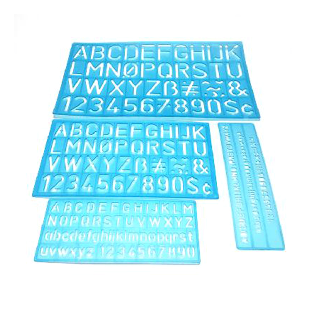 4PCS/Set Multifunctional Numbers Letters Alphabet Stencil Decorative Bendable Ruler Flexible Craft Template Drafting Drawing