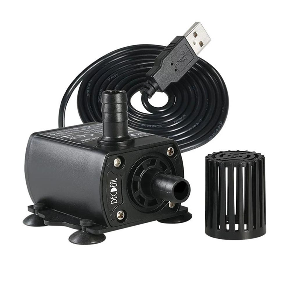 250 L / H Max 2M Water Pump Electric Brushless Mini Submersible Pump DC 5V For Aquarium Fountain Garden House With USB Connector