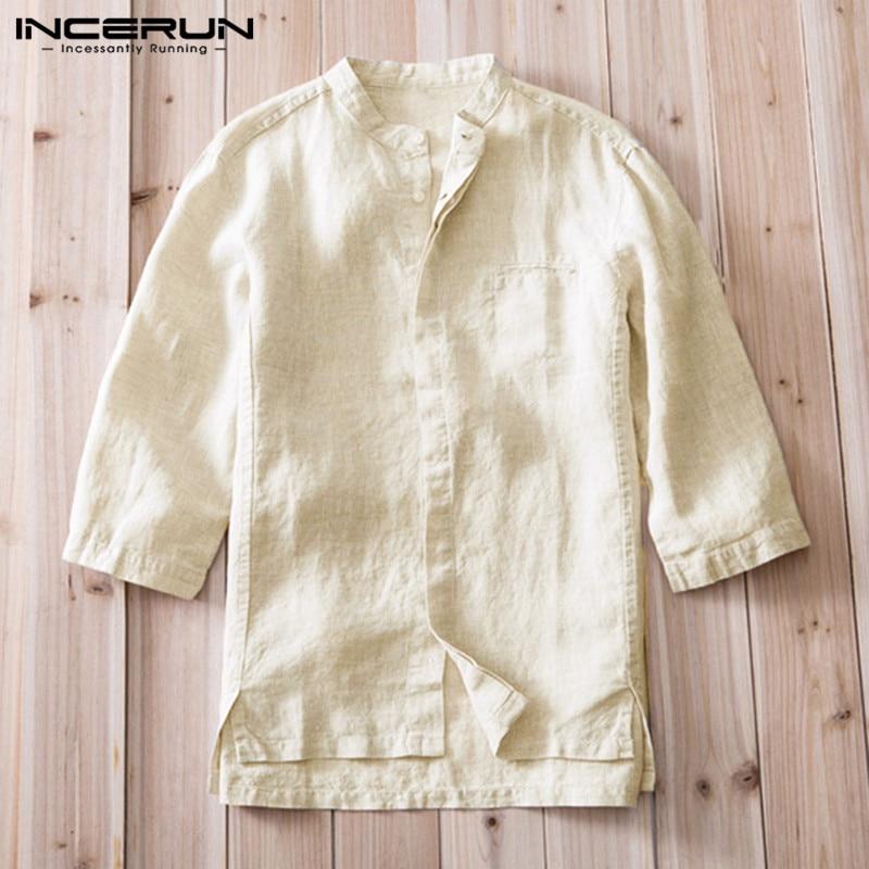 US Men Retro Plain Casual Short Sleeve Cotton Linen Button Blouse Tee Top Shirts