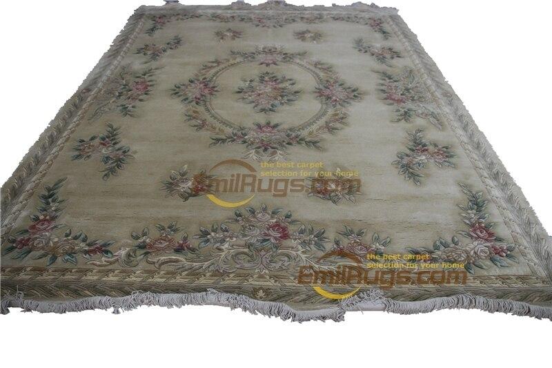 Haut à la mode Tapete détails sur la peluche épaisse nouée à la main Savonnerie tapis tapis fait sur commande W-5 jaune gc85savyg28