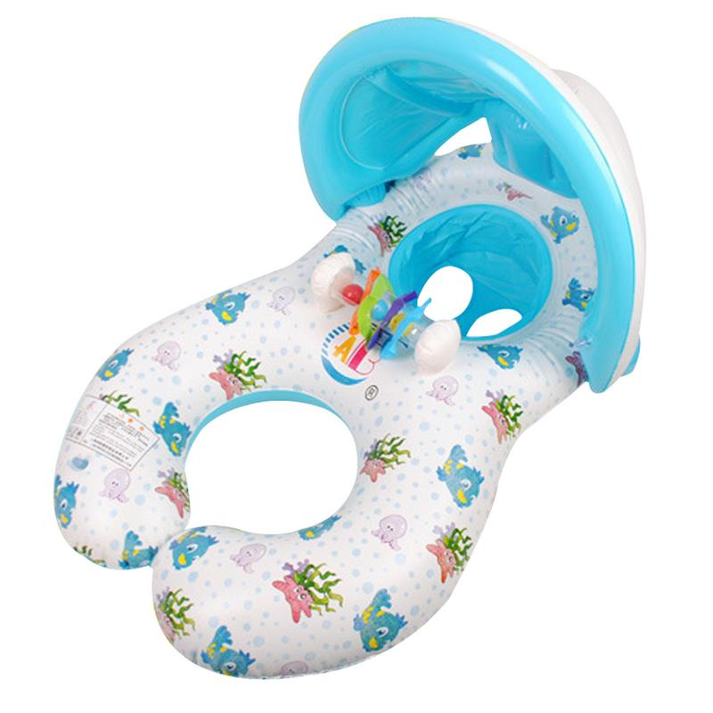 Inflatable Ring Swimming Circle Baby Float Double Swimming Pool Accessories Inflatable Wheels Swimtrainer Circles With Sunshade