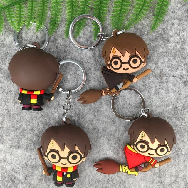 3D Harri Potter Ron Weasley Hermione Granger Malfoy Dobby Brinquedo Keychain DO PVC Snap Action Figure Brinquedos Festa Cosplay PVC Chave anel