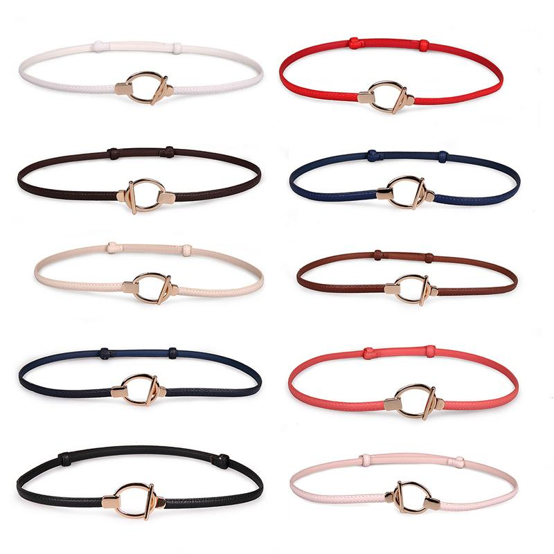 New Style Thin Adjustable Belt Pu Leather Black Dress Cummerbunds Students' Waistbands Red Buckle Gifts