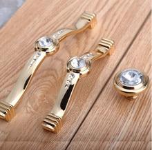 96mm 128mm Modern Fashion Deluxe Rhinestone Furnityure Handles Golden Glass Crystall Kitchen Cabinet Dresser Drawer Knob Handle