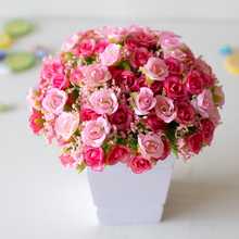 21 Head Mini Artificial Plastic Rose Flower Bridal Bouquet Wedding Decoration Fake 7 Fork Silk Romantic Home Decor