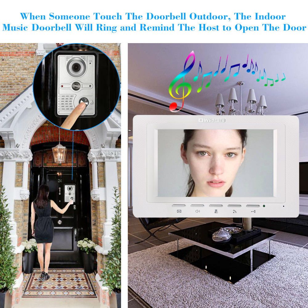 OWSOO 7 inch Wired Doorbell intercom with Rainproof Camera and Remote Unlock 3