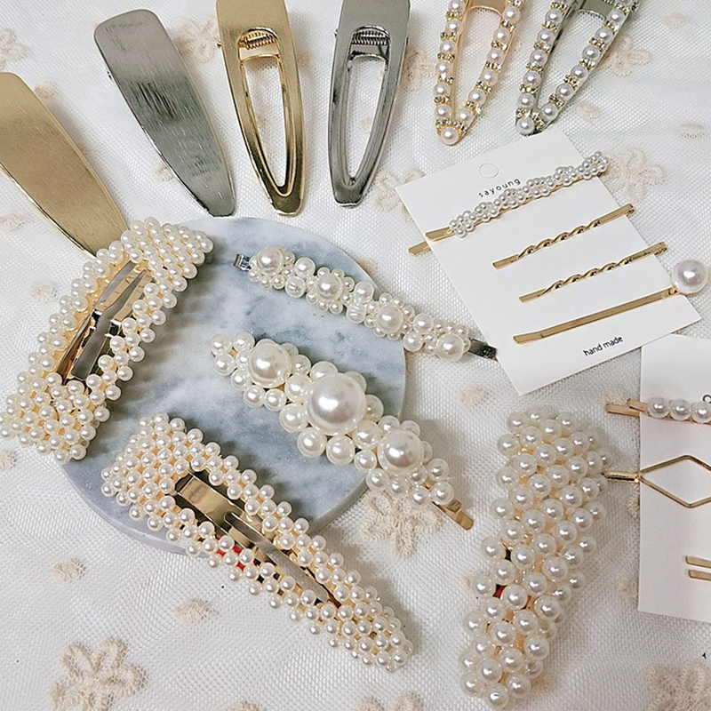 Women Words Beauty Pearl Hair Clip Hairpin Barrette Bobby Pin Accessories