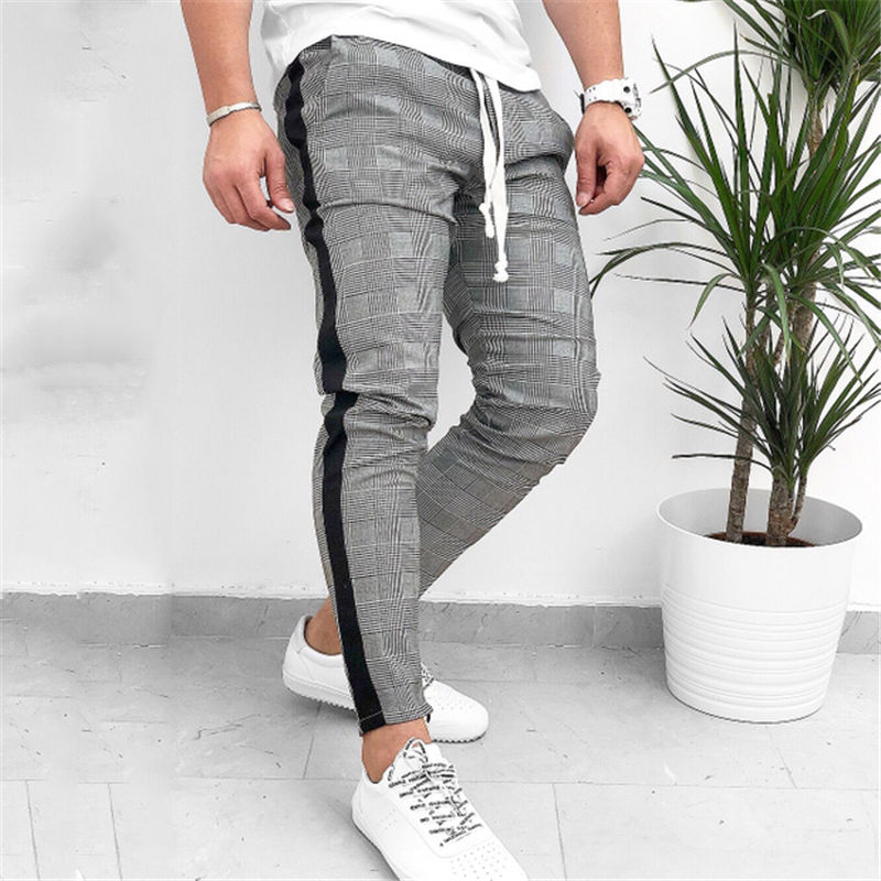 Hirigin High Quality Plaid Side Stripe Track Men Pants