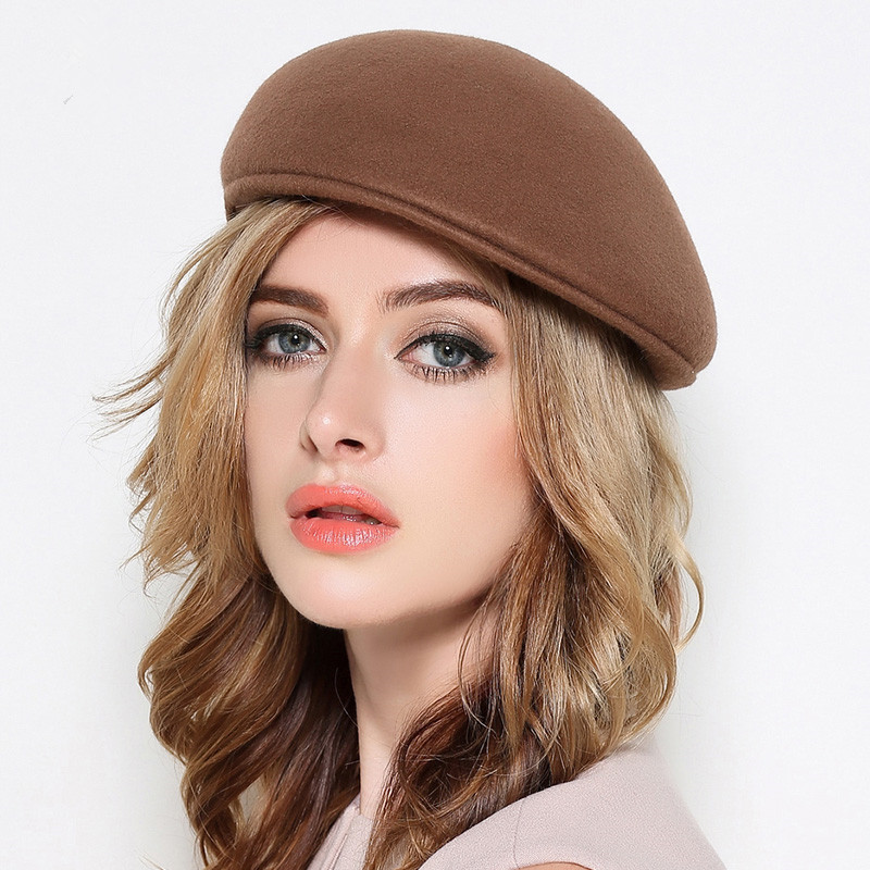 5f869d7d39962 ... Men Felt Flat Peaked Hats Adult Winter Casual Plain Beret Caps Women 100%  Wool Felt ...
