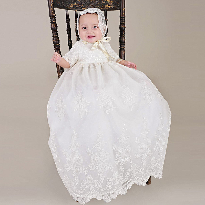 With Hat Baby Girls Christening Baptism Dress Long Embroidery Glorious Ivory Embroidered Netting Christening Gowns 0-2 Years