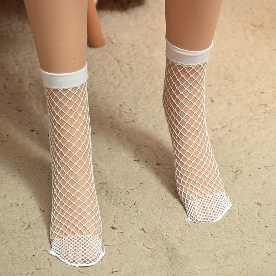 Fashion Women Fishnet   Socks   Breathable Mesh Hollow Out Net Ankle   Socks   Casual Solid White Black