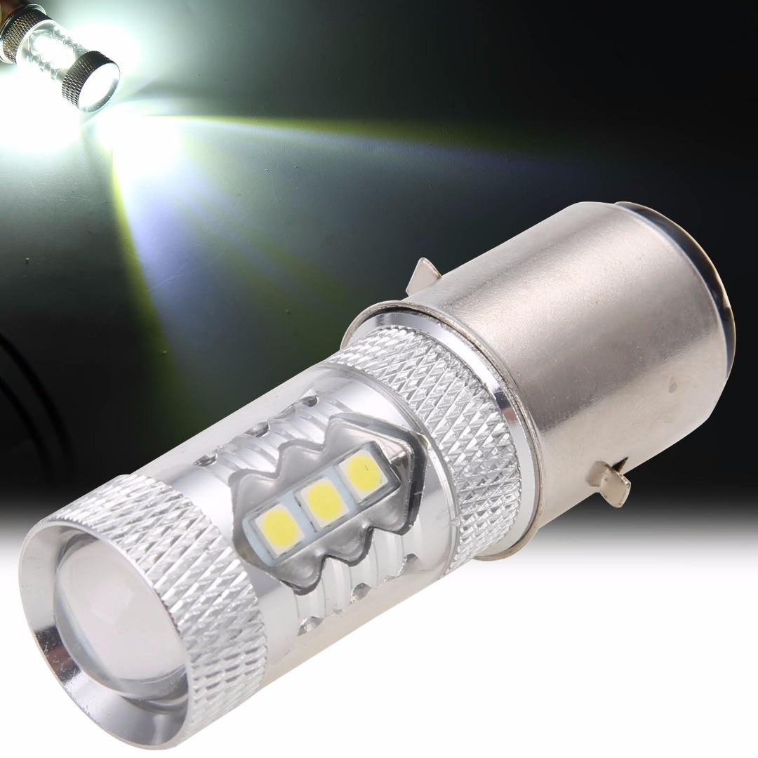 Treyues 1 Pc 12V BA20D H6 80W LED Headlight Fog Lights Day-Time Running Light Bulb Motorcycle Bike Moped ATV 6000-6500K