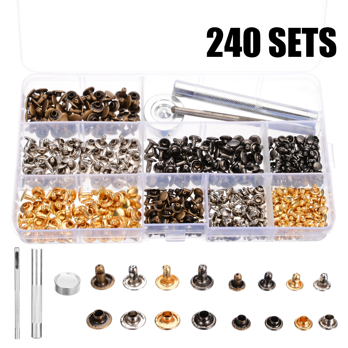 240 Sets Leather Craft Double Cap Repairing Rivets Tubular Snaps Fastener Button Press Metal Studs Fixing Tools Kit240 Sets Leather Craft Double Cap Repairing Rivets Tubular Snaps Fastener Button Press Metal Studs Fixing Tools Kit