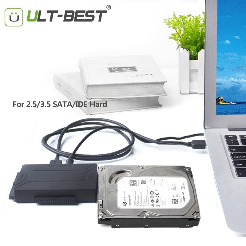 ULT-Mejor USB 3.0 IDE Adaptador de Cable SATA Controlador de Disco Duro SATA al Convertidor de USB para 2.5/3.5/5.25 de la Unidad Óptica de DISCO DURO SSD Con El Poder