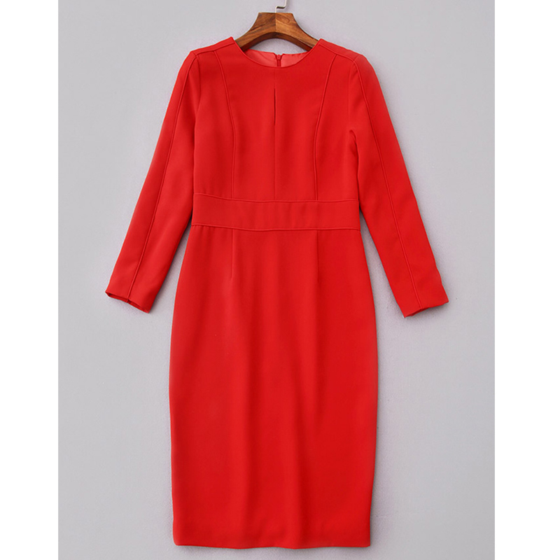 solid color red black pencil dresses princess women office business dress o neck long sleeve knee