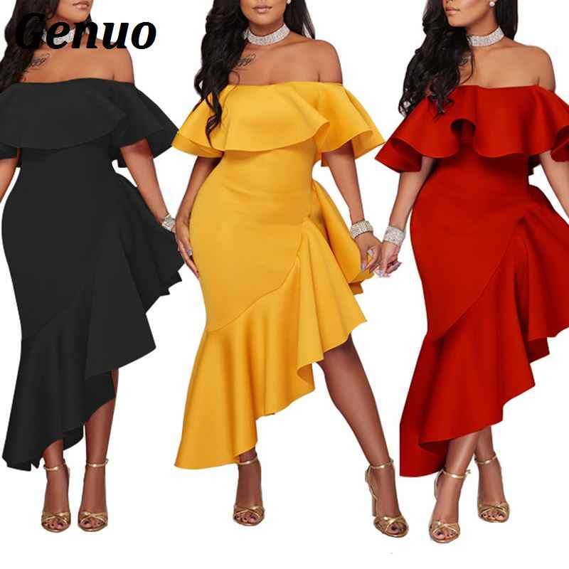 ... Genuo Solid Yellow Strapless Ruffle Knee Length Evening Gown Elegant  Bodycon Maxi Party Dresses Robe Long. RELATED PRODUCTS. 2018 Sexy ... 003eac34349b