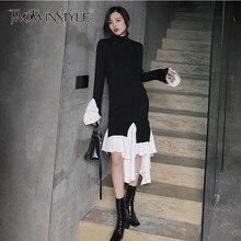 TWOTWINSTYLE Knitting Dress Female Flare Long Sleeve Turtleneck Patchwork Ruffle Hem Irregular Women's Dresses 2019 Autumn New