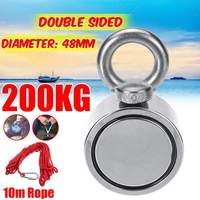 200KG Double sided Powerful Round Neodymium Magnet Hook Salvage Magnet Sea Fishing Equipments Holder with Ring