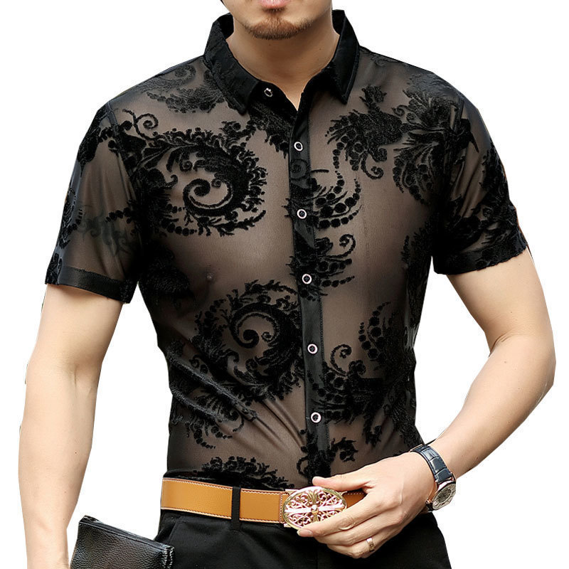 2019 New Short Sleeve Summer Sexy Prom Transparent Shirt Camisa Masculina Chemise Homme Flower See Through Shirt Paisley Pattern