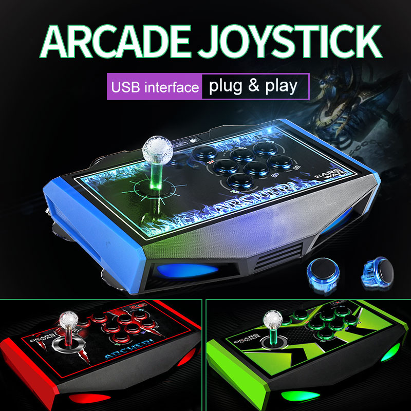 RS LED manette d'arcade 8 boutons USB bâton de combat manette contrôleur de jeu manette de jeu jeu vidéo pour PC manette contrôleur