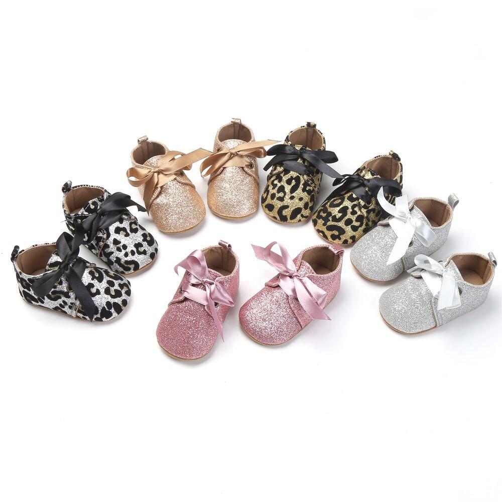 Infant Toddler Baby Girl Shoes Tassel Glitter Leopard Soft Crib Prewalker 0-18 Months