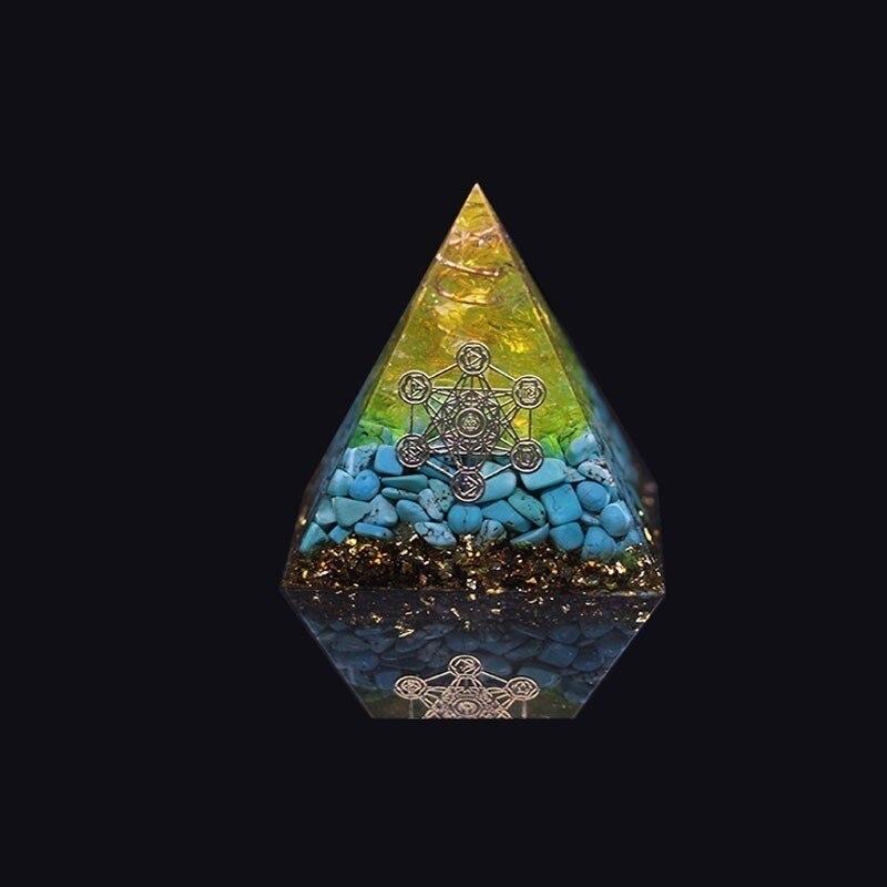 AURA REIKI Orgonite Pyramid Pyramid Natural Chakra Crystal Energy Converter Transplanting Evil Spirits To Remove Negative Energy