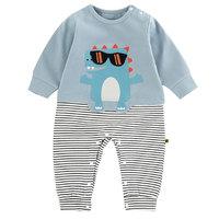 Newborn Baby Unisex Cotton Lightweight Long Sleeve Cute Cartoon Stripe Romper Boys And Girls Soft Rompers Clothes