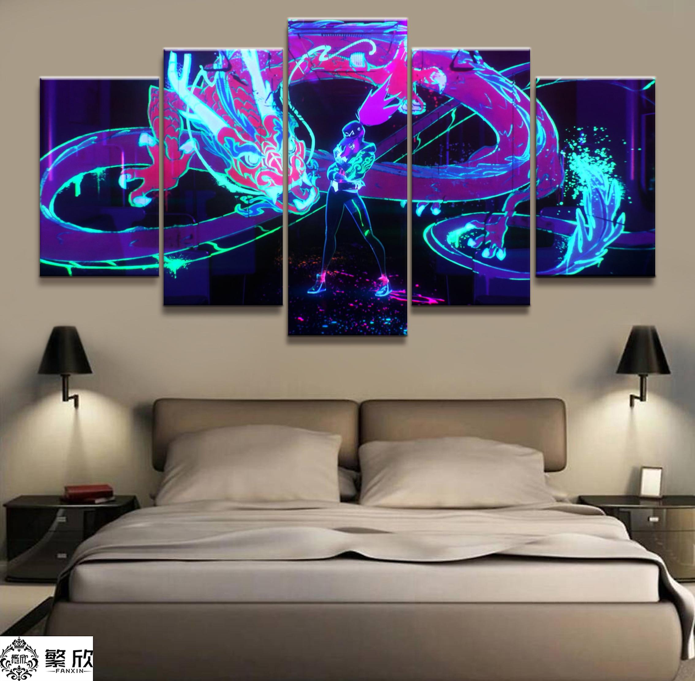 Painel 5 Akali K/LOL League of Legends Jogo DA Pintura Da Lona Impressa Para Sala Wall Art Decor obras de Arte de Imagem HD Poster