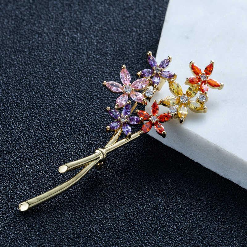 Mewah Zirkon Crystal Bros Bunga untuk Wanita Warna Emas CZ Kristal Bros Pin Perhiasan