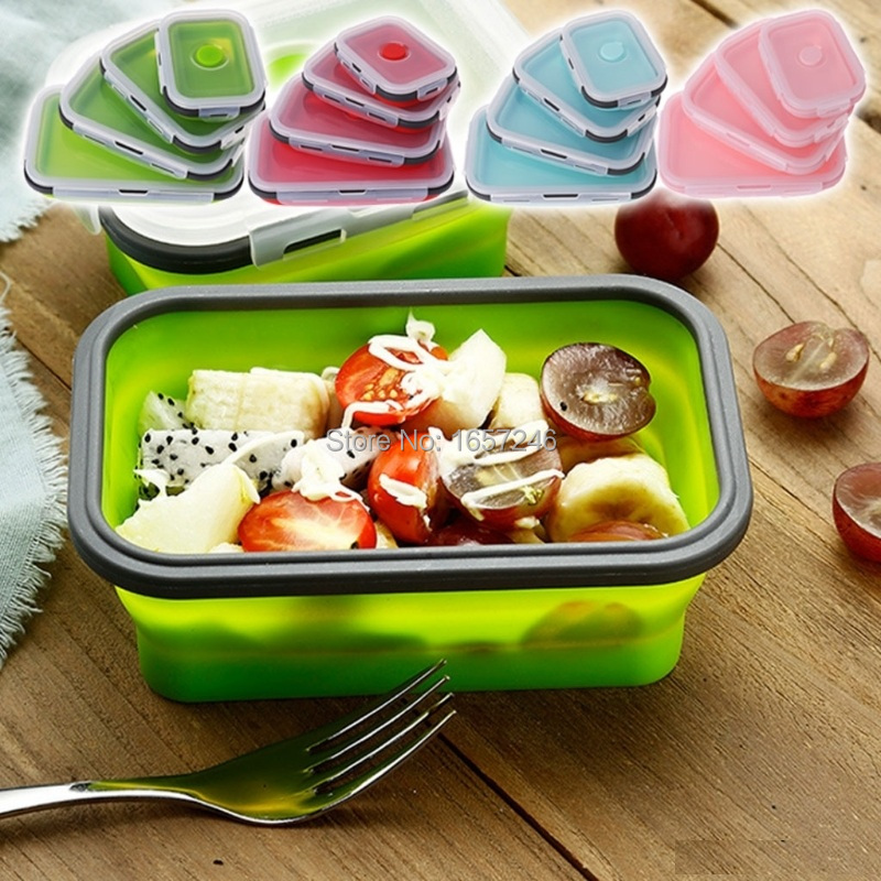 Folding Silicone Collapsible Portable Lunch Box 350 500 800 1200ML Microwave Oven Bowl Folding Food Storage