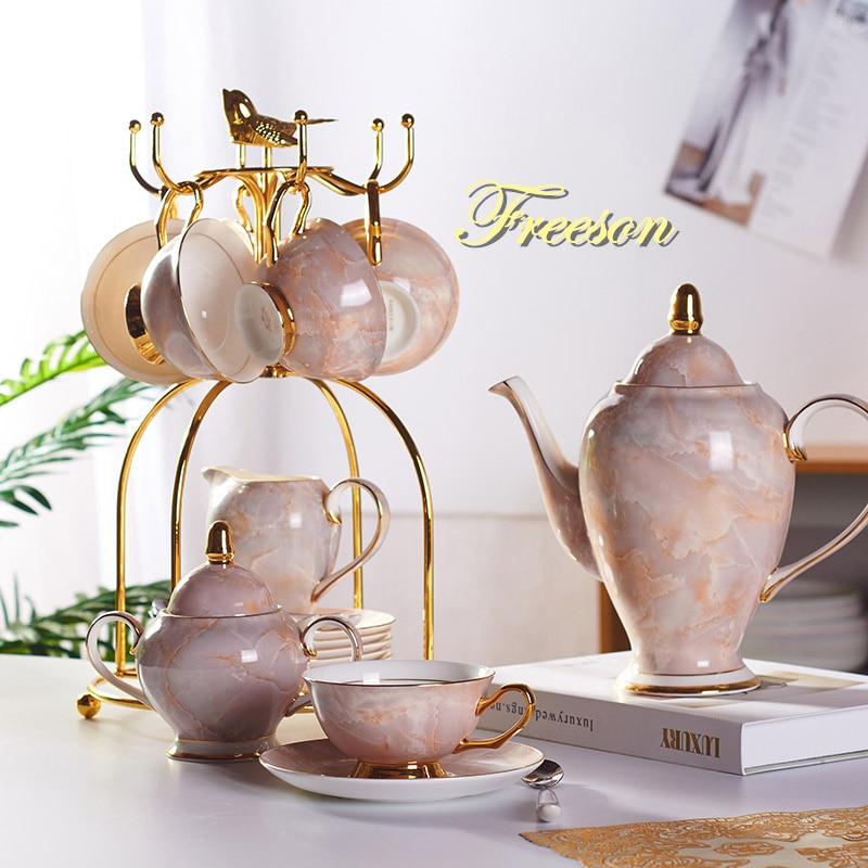 Marble Bone China Coffee Set Marbling Porcelain Tea Set Advanced Pot Cup Ceramic Mug Sugar Bowl Creamer Teapot Party Drinkware