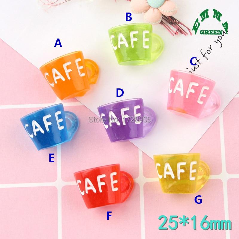 Cafe Cup charm Resin Cabochon 3D Coffee Cups Flat Back Kawaii 10 pcs 25 mm Craft DecoR Garden Miniatures Terrarium Figurines