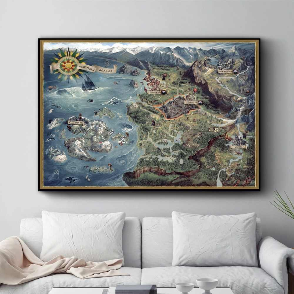 The Witcher 3 World Map Canvas Printed Painting Posters And Prints For  Living Room Wall Art Picture Home Decor No Frame