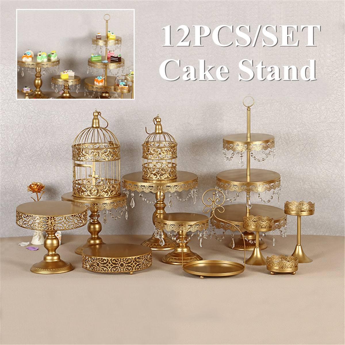 Vintage Crystal Cake Holder Cupcake Stand Wedding Dessert Vegetable Display Storage Rack Birthday Party Decorations 12Pcs Set