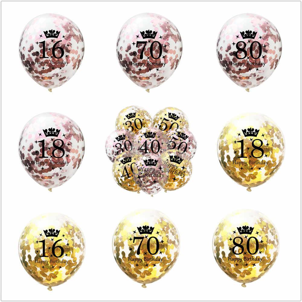 ZLJQ różowe złoto urodziny dekoracje świąteczne dla dorosłych złoty numer 18 30 40 50 60 wszystkiego najlepszego z okazji urodzin Balon do konfetti urodziny helem Balon