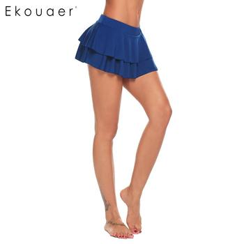 Ekouaer Women Mini Skirt Sexy Short Skirt Nightwear Double Ruffle Layered Elastic Skirt Cosplay Student Uniform Pleated Skirts 2