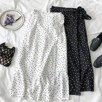 Новинка 2019 года для женщин Высокая талия в горошек юбка элегантный средней длины юбки обёрточная бумага горошек шифоновая корейская мода