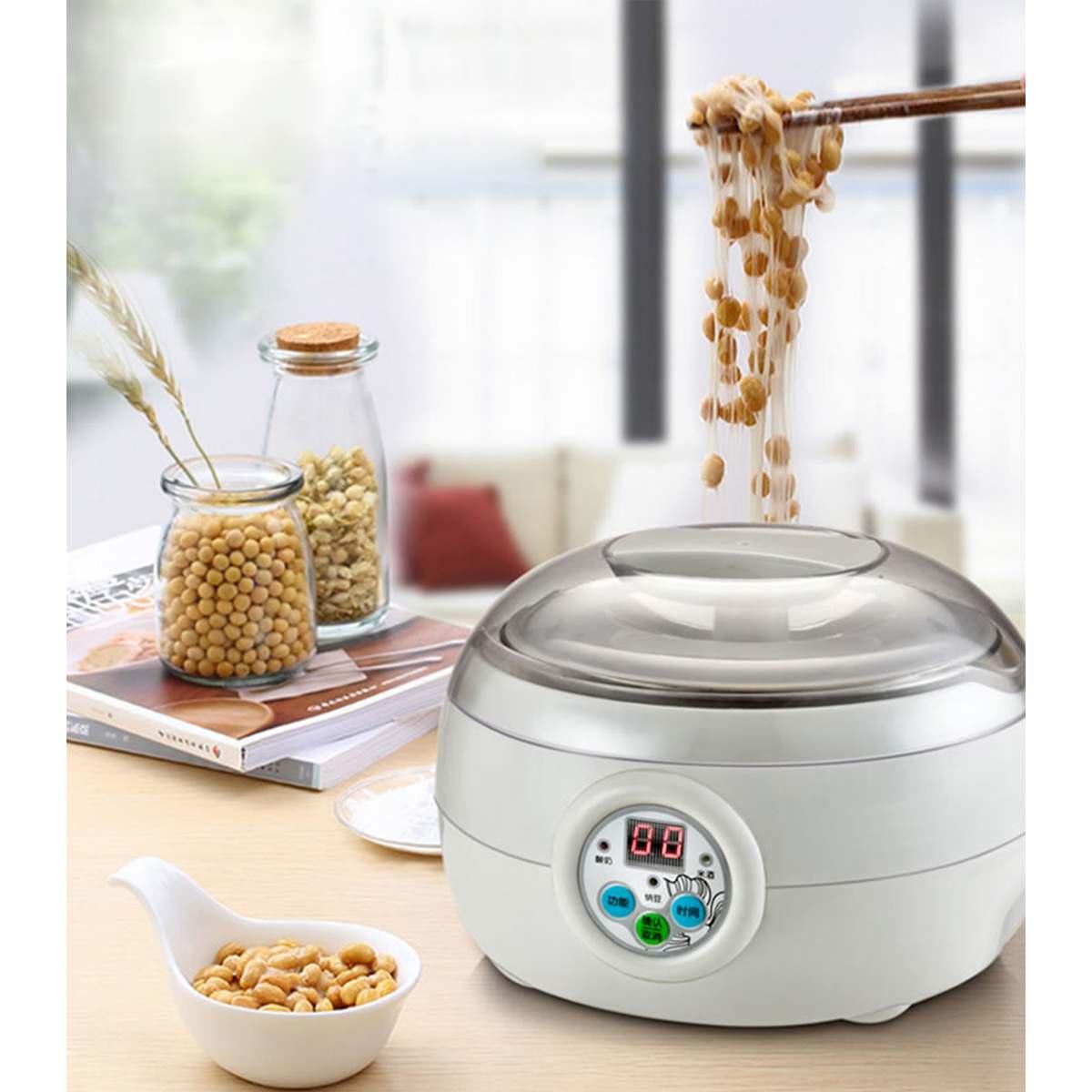 1.5L 220V 15W White Electric Automatic Yoghurt Maker Rice Wine Natto Cuisine Container Yogurt Maker Kitchen Appliance 14x21cm