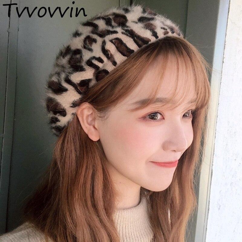Tvvovvin 2019 Herbst Winter Frau Neue Temperament Stilvolle Leopard Nachahmung Kaninchen Haar Kuppel Barett Maler Hüte Alle Spiel L036 Kopfbedeckungen Für Damen