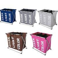 Environmental Friendly Cloth Art Waterproof Laundry Basket 3 Sections Folding Oxford Cloth Laundry Hamper with Aluminum Holder