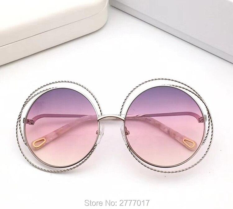Rimless Gradient Sunglasses Women Luxury Brand Designer Oversized big Round Sun Glasses Ladies Gradient Shades Clear