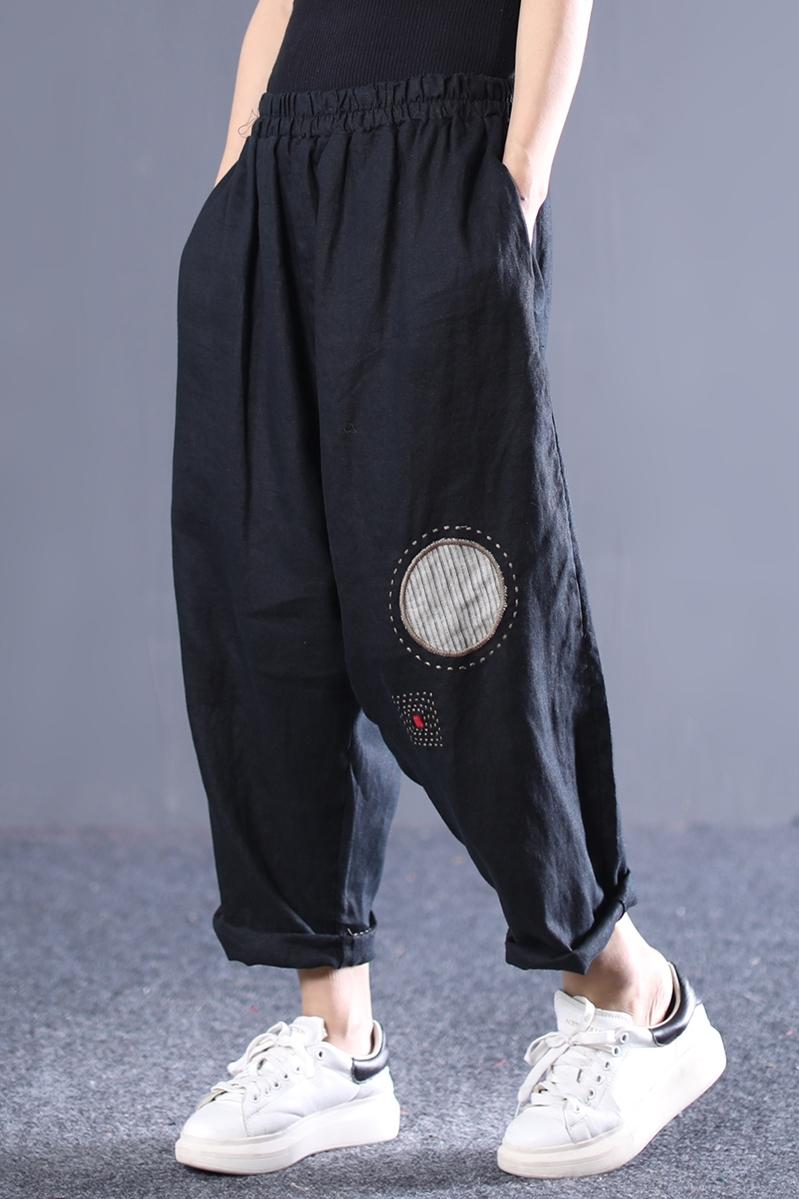 Harem Cintura ewq Moda Vintage Bolsillos Elástica Pantalones Patrón Mujer 2019 Patchwork Black Completa Primavera Ad88201 Longitud Nuevo qxqF714