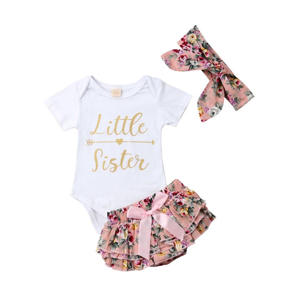 Pudcoco 3Pcs Newborn Baby Girls Letter Printed Outfit Clothes Top Bodysuit Flower Short Pants Set