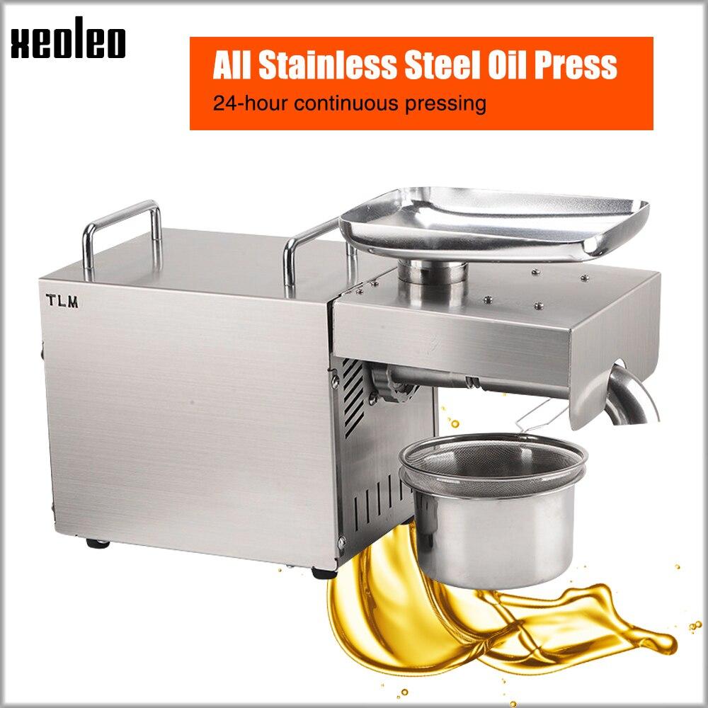 XEOLEO presseur d'huile domestique en acier inoxydable presse à huile machine arachide/huile d'olive utilisation pour sésame/amande/noix 1500W 110/220