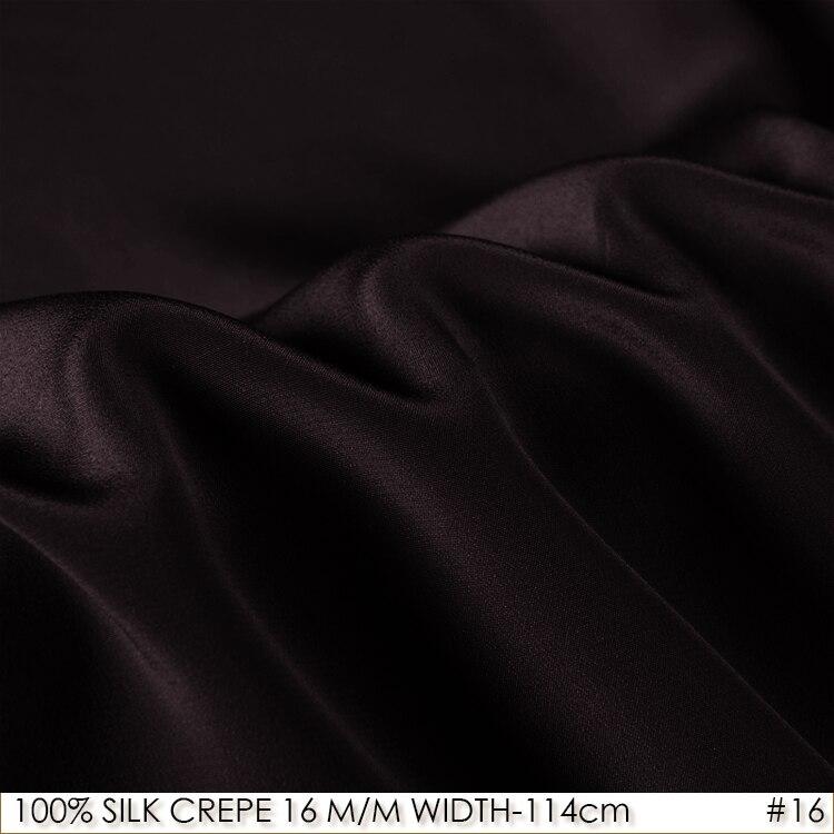 [Liquidation SALE] soie crêpe DE CHINE 114 cm largeur 16 momme 100% naturel doux soie robe tissu pour couture matériel noir 03