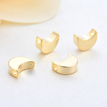 (33232 Pieces) 20 Pcs 10 * 7mm Hole 1.5mm 24K Gold Plated Brass Moon Charms Pendants Jewelry Accessories