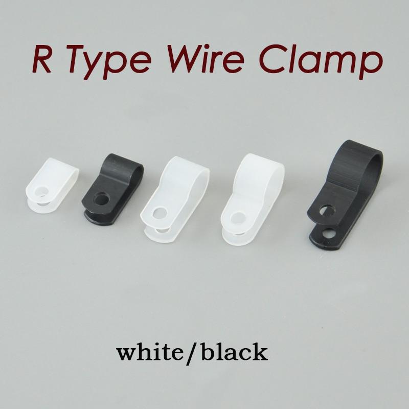 Pince de câble en Nylon Type R | 1000 pièces 8.4mm pince de câble de Type R blanc clair de 5/16